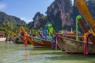 Long tail boats in Krabi